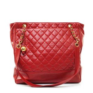 Auth Chanel Quilted Chain Tote Bag Lamb #8114C69